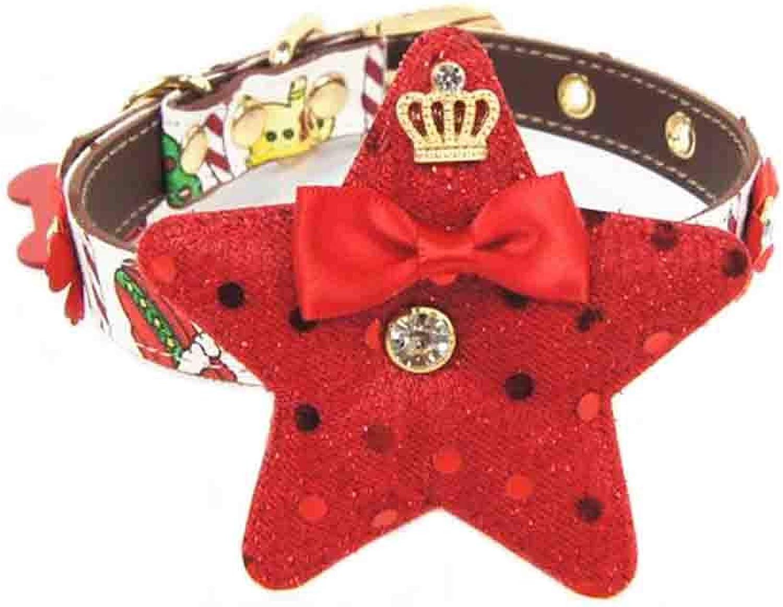 Herohua Merry Reindeer Christmas Design Dog Collar, Small, Neck 6 8 , Adjustable Collars for Dogs