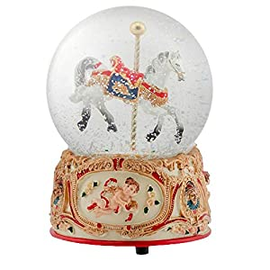 Elanze Designs Gilded Gold Tone Cupid and Carousel Horse 100MM Musical Water Globe Plays Tune Unchained Melody