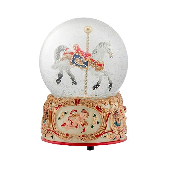 Elanze Designs Gilded Gold Tone Cupid and Carousel Horse 100MM Musical Water Globe Plays Tune Unchained Melody 3