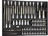Bit Torx Set Einlage Steckschlüssel Satz für Werkzeugwagen – universelle Schaumstoff Einlage für Werkstattwagen inklusive Werkzeuge übersichtliche Aufbewahrung auf Carbon Oberfläche