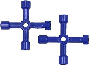 4 maneras multifunción llave de utilidad para armario eléctrico Radiador caja de apertura llave, paquetes de 2 (azul)