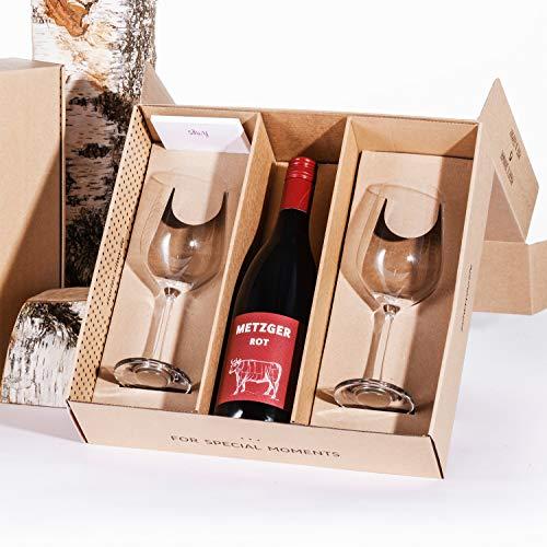 silwy Geschenkbox, Metzger Rotwein 0,75 l mit Magnet-Kristallgläsern inkl. metallischen Nano-Gel-Pads – standsichere Campinggläser, Boot- und Yachtzubehör (Geschenkidee Wein)
