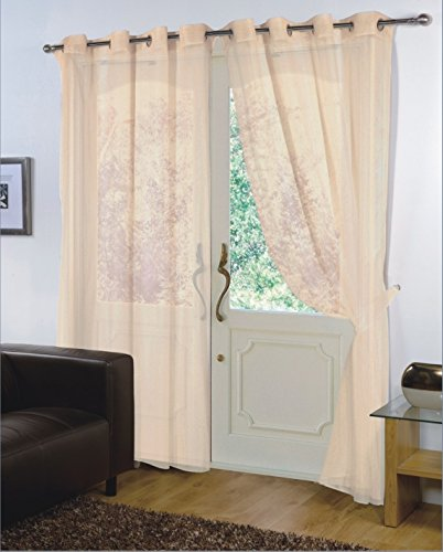 viceroy bedding Pair of Plain Voile CREAM EYELET/RING TOP 59'' Wide x 90'' Drop Curtain Panels + Free Tiebacks Included