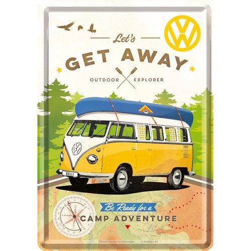 Nostalgic-Art Retro Grußkarte Volkswagen T1 – Bulli Get Away, Geschenk für VW Bus Fans, Blechpostkarte, Mini-Blechschild Vintage-Design, 10 x 14 cm