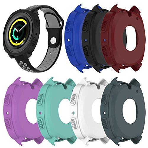 RuenTech Compatible with Samsung Gear Sport Case Cover,Soft Silicone Protective Case Frame Shock Resistant Cover Case Compatible for Gear Sport R600 Smartwatch (7-Pack)