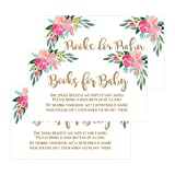 25 Flower Books for Baby Request Insert Card for Girl Gold Floral Baby Shower Invitations or invites, Cute Bring A Book Instead of A Card Theme for Gender Reveal Party Story Games, Business Card Size