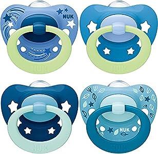 NUK chupetes para bebés noche y día   18-36 meses   Chupetes que brillan en la oscuridad   Silicona sin BPA   Rosa   4 unidades