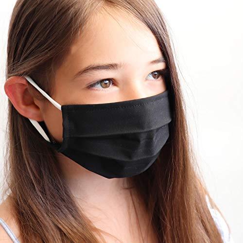 LIEVD Kinder Behelfsmaske Schwarz S wiederverwendbar I waschbare Gesichtsmaske aus 100% Baumwolle Öko-Tex 100 | Made in Germany I 2-lagige Stoff Community Maske I Mundschutz für die Schule