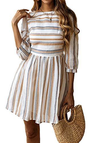 ECOWISH Damen Kleider A-Linie Gestreift Sommerkleid 3/4 Ärmel Rundhals Plissee Kleid Casual Mini Strandkleid Gelb Blau XL