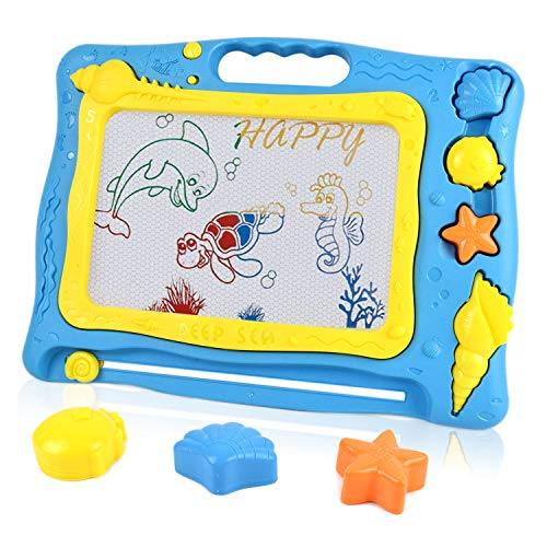 Akamino Magnetic Drawing Board, Drawing Sketch Pad for Kids Ocean Theme Big Size Painting Writing Doodle Board for Toddlers Baby Creative Educational Toys Gift