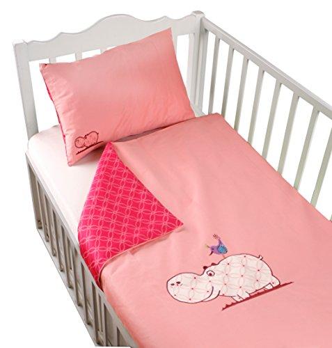 ToTs by Smartrike 280-205 Joy Parure de lit en satin de coton avec housse de couette 100 x 135 cm et 1 taie d'oreiller 60 x 40 cm Rose
