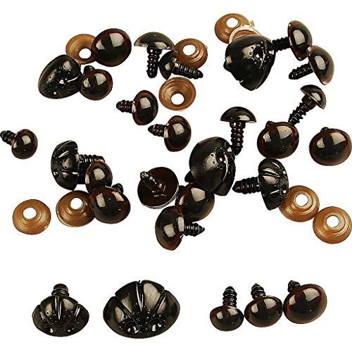 Ojos y narices de oso de peluche, 10-15 mm, 12 unidades surtidas