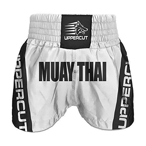 Calção Short Muay Thai Premium Branco/Preto - P