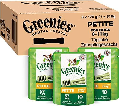 Greenies Dental Treats Original Petite – 30 Zahnpflegesnacks für kleine Hunde von 8-11 kg – Hundeleckerli zur täglichen Zahnreinigung – 3er Pack – 3 x 170 g