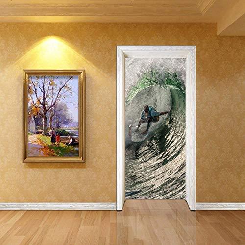 Door Wall Sticker Sea Surf Self-Adhesive Waterproof 3D Door Sticker Bedroom Living Room Decoration Mural Removable Wall Sticker