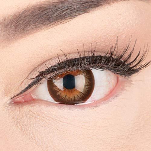 Sehr stark deckende und natürliche Braune Kontaktlinsen SILIKON COMFORT NEUHEIT farbig 'Mila Brown' + Behälter von GLAMLENS - 1 Paar (2 Stück) - DIA 14 mm - ohne Stärke 0.00