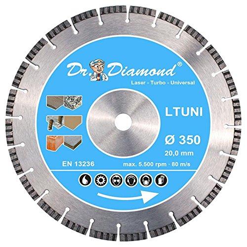 Dr. Diamond Laser Diamanttrennscheibe Turbo 10 mm Universal 1x 350 mm Bohrung 20 mm