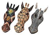 3pieza Zebra Máscara 30cm de estilo africano Madera Máscara pared Máscara