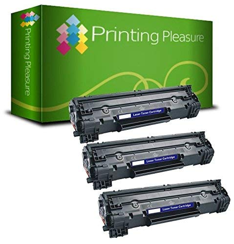 Printing Pleasure 3 Toner Compatibili CF283A 83A Cartuccia Laser per HP Laserjet Pro MFP M125a M125nw M126a M127fn M127fw M128fn M128fw M225dn M225dw M201dw M201n M202dw M202n - Nero, Alta Resa