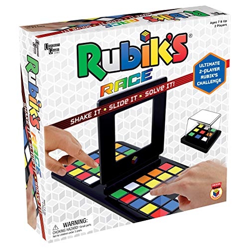 University Games Rubik's Race Game, Head To Head Fast Paced Square Shifting Board Game Based On The Rubiks Cubeboard, for Family, Adults and Kids Ages 7 and Up, Black