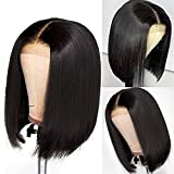 Brazilian Virgin Short Straight Bob Lace Front Wigs Human Hair Pre Plucked with Baby Hair 150% Density 4x4 Short Bob Wigs for Black Women(10inch)