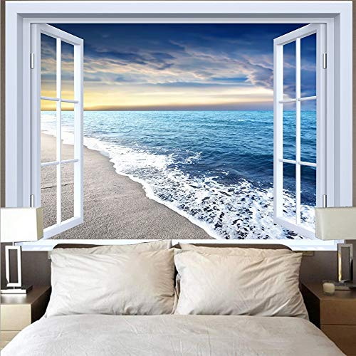 Tapiz de montaña tapiz paisaje lago puesta de sol gran ola tapiz paño de pared decoración del hogar fondo tapiz de tela A15 73x95cm