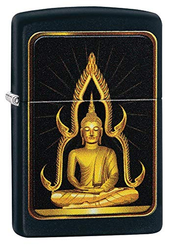 Custom Personalized Black Matte Buddha Zippo Windproof Lighter Free Engraving #29836