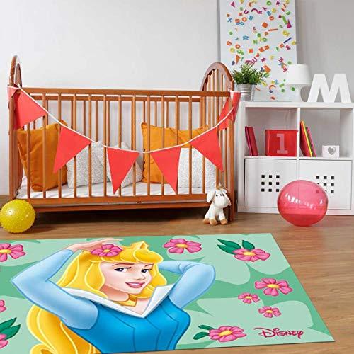 Disney Tapis Enfant 50x80 cm Rectangulaire Princesse Aurore Vert Chambre adapté au Chauffage par Le Sol