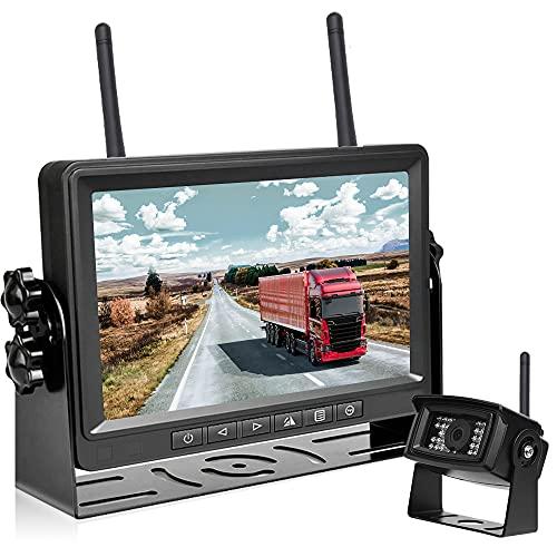 Hikity FHD 1080P Digital Inalámbrico Cámara de Respaldo de Coche 7 Pulgadas Monitor con grabación DVR IP69 A Prueba de Agua Visión Nocturna Sistema de Observación de la Vista Trasera para RV Camión