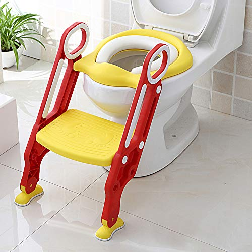 Greensen Toilettensitz Kinder mit Treppe Toilettenaufsatz Toilettentrainer Kinder Toilettensitz Faltbar Töpfchen Verstellbarer Trainingssitz mit PU Kissen und Griffen Töpfchen für Kinder
