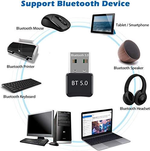 JSTH USB Bluetooth 5.0 Adapter, Plug & Play Mini Bluetooth USB Dongle Receiver Transmitter für PC, Kopfhörer, Laptop, Tastatur, Maus, Drucker, Windows 10 fähig