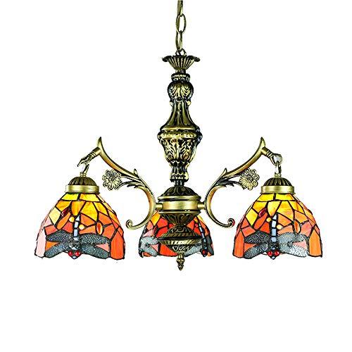 Tiffany Dragonfly Chandelier Retro Mosaico Vidrieras Lámpara de Techo de Lujo árabe Lámpara Colgante Colgante para el hogar Dormitorio Decoración del Hotel, E27,3 Luces