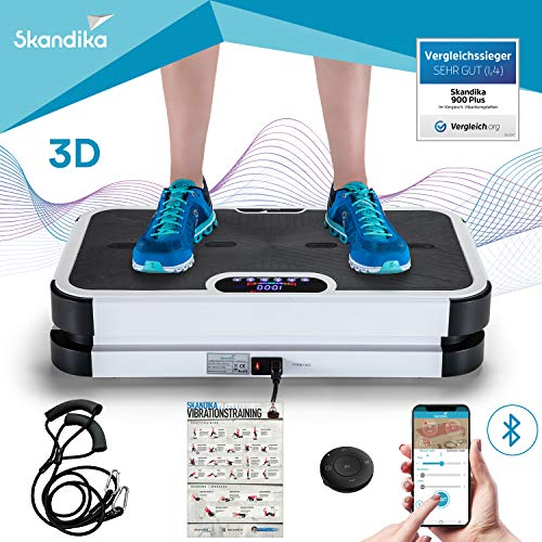 skandika Plataforma vibratoria 900 Smart - Bluetooth - vibración 3D - Mando a Distancia - Correas de Entrenamiento (Negro)