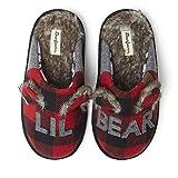 Dearfoams Kids Unisex Slipper, Lil Bear Furry Plaid, US 9-10 Toddler
