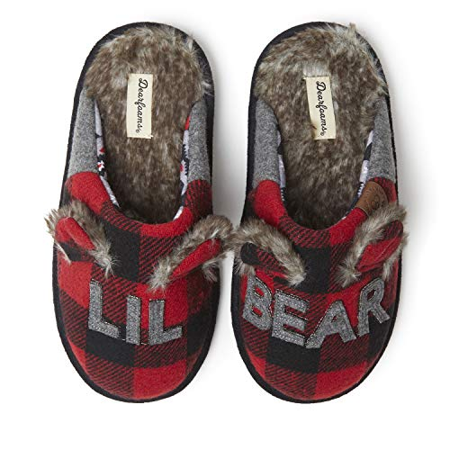 Dearfoams Kids Unisex Slipper, Lil Bear Plaid, US 7-8 Toddler
