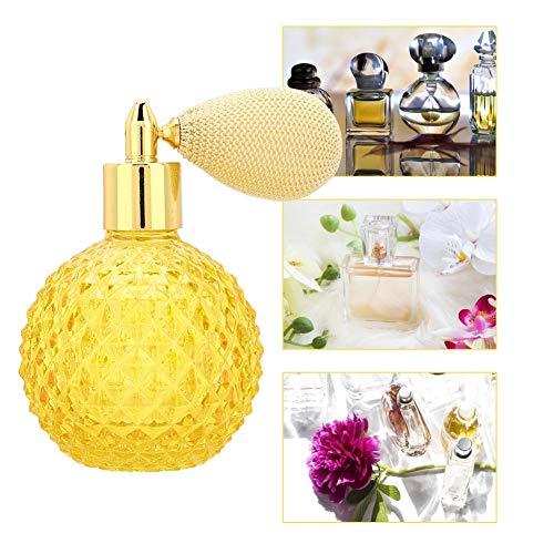 100ml Fashion Yellow Ananas Muster Glas Parfümflasche Retro Nachfüllbare leere Sprühflasche Zerstäuber mit gelber Flasche + Gold und Beige Short Tube