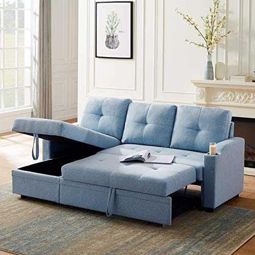AUKUYEE Reversible Sofa Bed, Sectional Couch with Pull-Out Sleeper for Living Room & Apartment, with Storage Chaise and Two Cup Holders, Blue