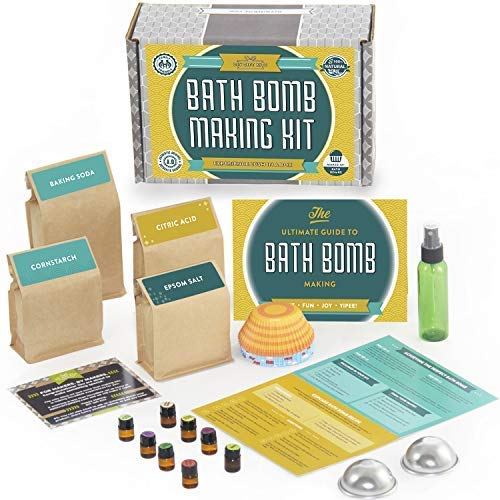 DIY Gift Kits Bath Bomb Kit (Deluxe) 8 All Natural Essential Oils and Recipe Pack Makes 12+ DIY Cupcake Mold Bath Bombs, Gift Box Included.