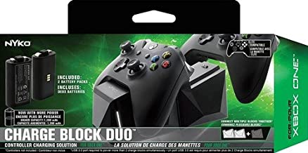 Nyko Charge Block Duo -2 Port Controller Charging Station with 2 Rechargeable Batteries, Covers and included Micro-USB/AC Power Cord for Xbox One