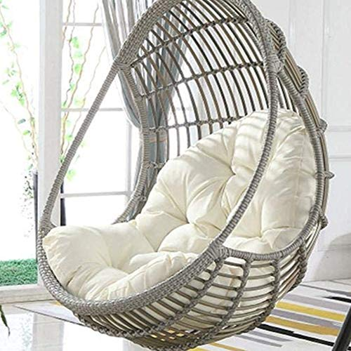WAQIA Hanging Basket Hanging Egg Chair Cushions Hammock Chair Cushions Thick Nest Back Pillow for Outdoor Patio Garden Swing Chair Cushion Seat Pads (White)