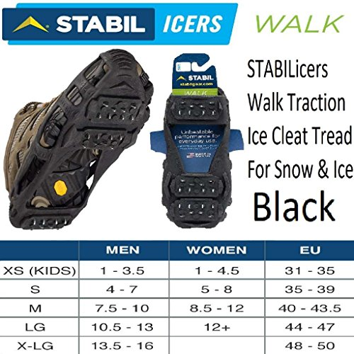 STABILicers Walk Traction Ice Cleat, X-Large (12.5-15 Men), Black