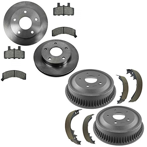 Front & Rear Ceramic Brake Pad, Rotor, Drum & Shoe Kit for Dodge Ram 1500