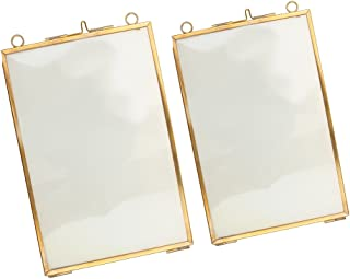 Baoblaze Pieces of 2 Vintage Antique Brass Metal Glass Float Photo Picture Frames 5x7+4x6