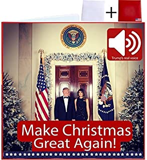 Merry Christmas Talking Trump Card (REAL Voice) Beautiful design - Wishes You A Merry Christmas - For Trump Lovers Greeting From President Of The United States - 2 Envelopes Included Red HomeTeam USA
