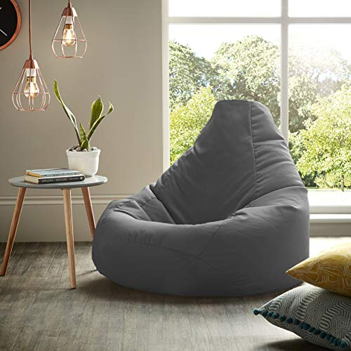 Beautiful Beanbags Adult Highback Beanbag Large Bean Bag Chair for Indoor and Outdoor Use - Water Resistant- Perfect Lounge or Gaming Chair - Home or Garden Bean Bag - Manufactured in UK (Grey)