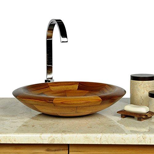 wohnfreuden Holz - Waschbecken rund 40 cm lasiert und poliert | Top Qualität | Einzeln geprüft und fotografiert | Aufsatzwaschbecken aus Teakholz für Ihr Badezimmer ✓ schnell