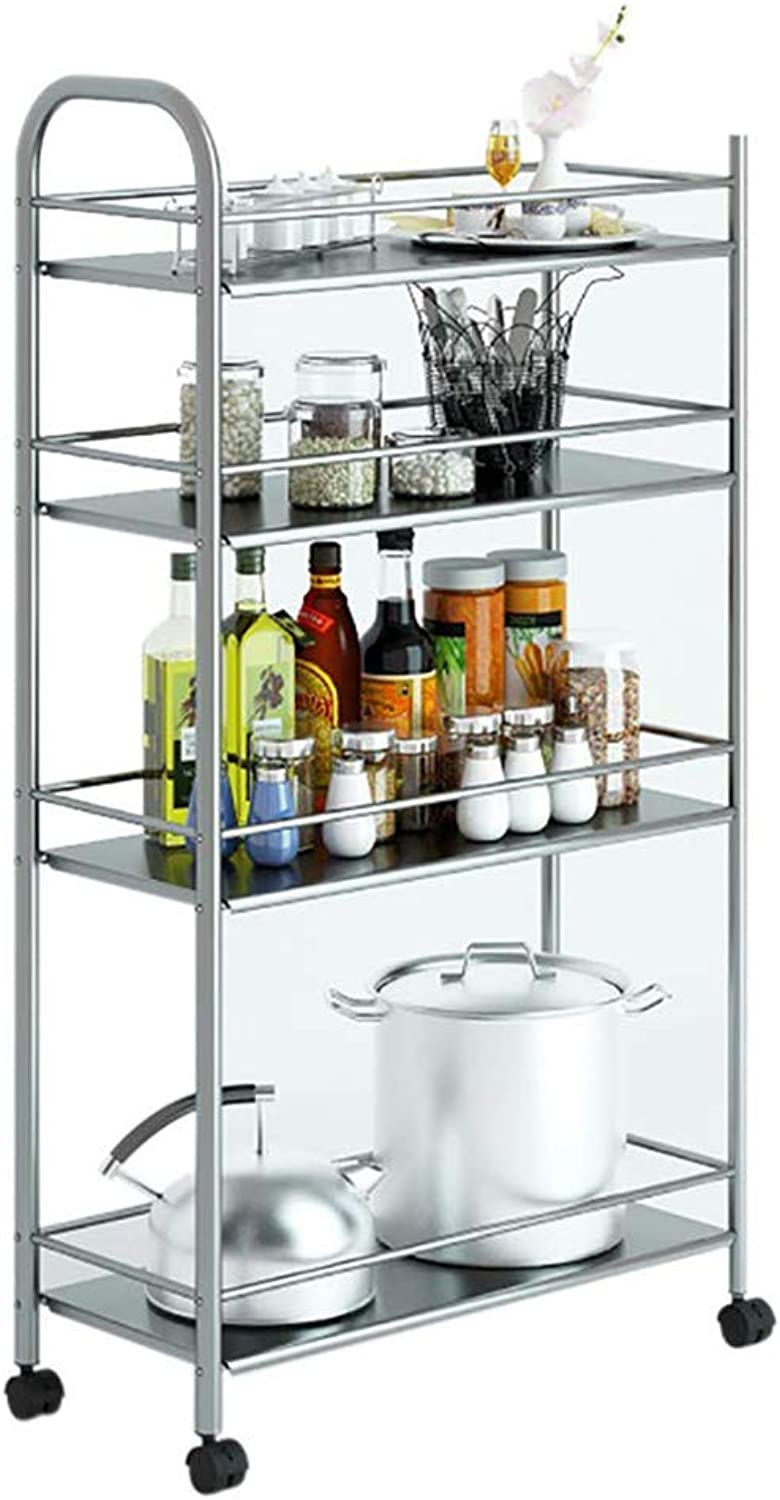Stainless Steel Kitchen Cart Service Car Hotel Dining Car Movable Shelf, 4-Layer Multi-Function, Universal Wheel