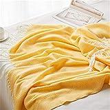Nicole Knupfer Klassische Decke Wolldecke Wohndecke Kuscheldecke mit Fischgrätenmuster -Sofadecke Tagesdecke Überwurf Sofa 130 * 170 (Gelb)