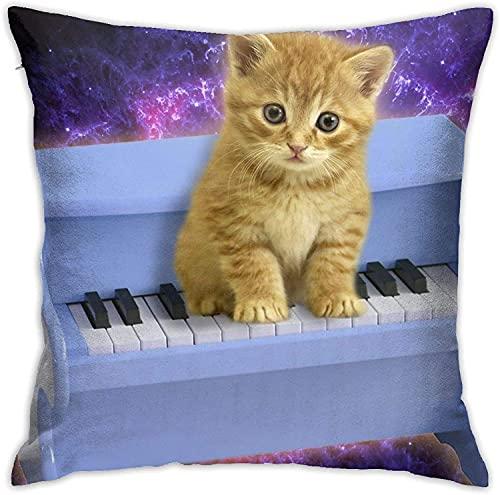BONRI Throw Pillow Case, Water Lotus Pillow Cover, Funda de Almohada Decorativa Cojín Cuadrado para sofá Sofá Coche 18x18-Lovely Piano Cat