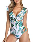 Tempt Me Women Ruffle One Piece Swimsuit Deep V Neck Swimwear Monokini White XL